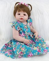 muñecas de silicona de cuerpo completo al por mayor-55cm de cuerpo completo de silicona de Reborn Baby Girl Doll Juguetes 22inch realista princesa del niño recién nacido bebés muñeca regalo de cumpleaños de los accesorios del presente