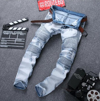 Wholesale Male Fashion Casual Pants - 2016 Fashion Men Jeans Masculina Casual Denim Distressed Male Slim Jeans Pants Skinny Rock Ripped Jeans Free Shipping