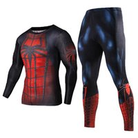 Wholesale New Fitness Men Sets Spiderman Compression Shirts Leggings Base Layer Crossfit Brand Long Sleeve T Shirt Clothing Running Sets