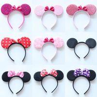 Wholesale Hair Accessory Bow Ladies - Girls Boys Bow Minnie Mickey Ears Baby Hair Accessories Ladies Headband Kids Christmas Hairband Happy Birthday Party Decors