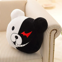 Wholesale Dangan Ronpa Cosplay - Dangan Ronpa Monokuma cosplay High Quality Plush PP Cotton Decorative Pillow Black White Bear Top Quality Kids Toys Child Birthday Present