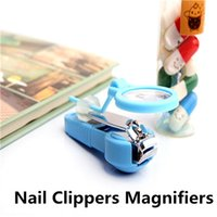 Wholesale Magnify Glass Nail - New Portable Children Old People Magnifying Glasses Nail Clippers Multi-function Handheld Magnify Mix Colors Loupes Grandparents Daily Tool