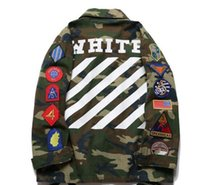 Wholesale Striped Sticker - 2017OFF WHITE hip hop VETEMENTS VLONE camouflage hoodies sweate embroidery sticker kanye west striped couple lovers jacket jacket