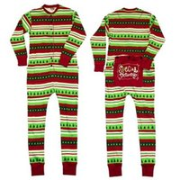 Wholesale Womens Cotton Pajamas - Family christmas pajamas outfits baby stripe printed romper boys girls deer printed jumpsuits womens father autumn clothing T0361