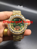 Wholesale Gold Chronograph Mechanical - NEW Luxury 43mm Gold Big diamond Mechanical man watch (Red, green, white, blue, gold) dial Automatic Stainless steel men's watches 2017