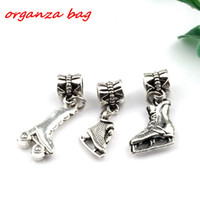 Wholesale Roller Skate Beads - MIC .150pcs   lot Dangle Antique silver alloy Mixed 3D Roller skates charm Beads Fit Charm Bracelets DIY Jewelry