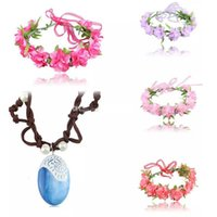 Wholesale Baby Wreaths - Moana Necklace Flower Headwear 6 colors baby Princess wreath Halloween Flowers Garland Moana Cosplay Accessories