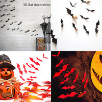 Wholesale Eve Wall - Halloween Decorations 3D Bats black DIY Wall Stickers PVC Decorative Wall Sticker for Home party Halloween Eve Halloween Decor WX-S03
