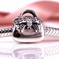 High Quality Handbag Silver Charm With Cubic Zirconia Charm Fit DIY Pandora Bracelet Authentic 925 Sterling Silver 791534CZ