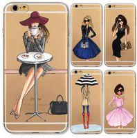 kızlar iphone cases 5s 5c toptan satış-Telefon Kılıfları iphone 6 6 s Artı 6 Artı 4 4 s 5c 5 5 s SE Yumuşak İnce TPU Şeffaf Karikatür Modern Seksi Kız Desen Kılıf iphone 7 8 Kapak