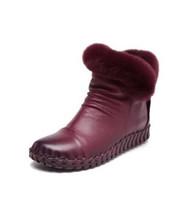 Wholesale women boots rabbit fur - Rex Rabbit Fur Winter Boots Genuine Leather 2017 Cowhide Women's Boots Cotton Shoes Soft-cotton Boots Women's Hand-stitched