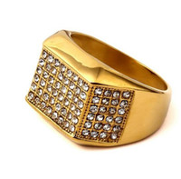 Wholesale Gold Filled Rings Mix - 2017 AAAAA quality Tide Brand Hip Hop Gold Ring man Stainless Steel Rings for Men Hip Hop Men Jewelry