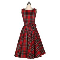 Wholesale Pinup Rockabilly Dress - Wholesale- New Women Summer Dress Sleeveless Cotton Short Plaid Striped Party Gowns Pinup 50s 60s Rockabilly Big Swing Dress 2017 Tibtan