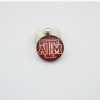 Wholesale M Glasses - 20pcs NCAA Texas A&M Sports Team Glass Button Snaps Jewelry Fit For 18MM Good Quality Charm Bracelet