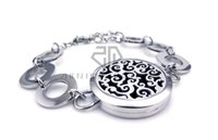 Wholesale indian free channels - Free Shipping Round Steel Color Auspicious Clouds (30mm) with Circle Band Aromatherapy Diffuser Essential Oils Lockets Bracelet