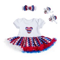 Wholesale Wholesale Satin Rompers - 2017 Newest 4th of July Satin Newborn Tutu Rompers Headband Baby Shoe Independence Day Baby Romper Set