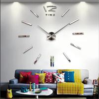 Wholesale Oversized Art - Modern Europe DIY Wall Clocks Oversized 3D Acrylic Mirror Clocks Surface Separates Sticker Quartz Home Decor Art