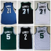Wholesale Green Rev - 21 Kevin Garnett Jersey 5 Fashion Rev 30 2 Kevin Garnett Basketball Shirt Throwback Uniform Black Blue White Green Pure Cotton Breathable