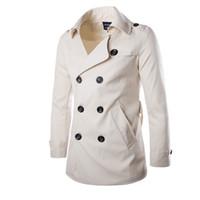 xxl uzun trençkot toptan satış-Toptan-2016 Yeni Moda Erkekler Katı İnce Trençkot İngiltere Stil Uzun Ceket Palto Çift Göğüslü ile Sashes Parti Elbise M-XXL