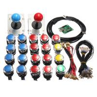 Wholesale Arcade Joystick Buttons Kit - Arcade LED MAME 2 Player USB Bundle Kit 2 Joysticks 4 And 8 way 20 Push Buttons