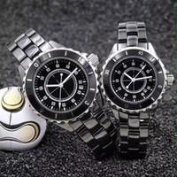 Wholesale Mens Diamond Dress Watch - Famous Dress Women Mens Watches Luxury watch Diamonds Dila Ceramic Fashion brand Quartz Wristwatches for Men Women C lady gift AAA relojes