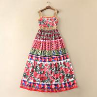 forro rojo al por mayor-2017 marca mismo estilo vestido flora impresa verano una línea rojo sin mangas grano de la falda vestido de falda con tirantes D322