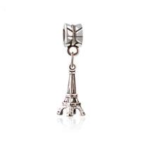 Wholesale Paris Music - Vintage Ancient Silver Paris Eiffel Tower Pendant Charm Pendant Charm Fit Bracelet Diy Jewelry Accessories