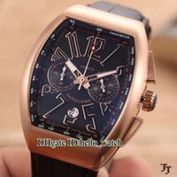Wholesale Chronograph Watch Cheap - Cheap Brand New FM Saratoge Yachting Vanguard VK Quartz Chronograph Black Dial 43mm Rose Gold Mens Watch Leather Band Gent Sport Watches