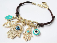 Wholesale Hamsa Turkey - Turkey Evil Eye Charm Bracelets Gold Hamsa Fatima Hand Blue Fashion Chain Jewelry New Design Palm Pattern Bracelets