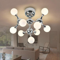 Wholesale Led Cool White Hanging Lights - Modern Fashion DNA Ceiling Light Lamp Creative Pendant Lamps Dining Room Lamp Fixture Hanging Suspension Light White Chrome 3 5 7 9 15 heads