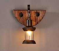Wholesale Art Deco Clothing - Solid Wood Loft Wall Lamp Vintage Style Creative Clothes Shop Bar Corridor Sconce Lighting Fixture MYY
