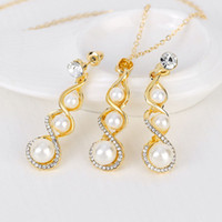 Wholesale African Pearl - Trendy natural pearl Necklace Set women natural pearl Jewelry Chain Necklace Bracelet African Jewelry Sets maxi statement 162182