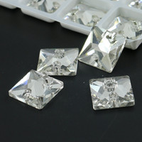 Wholesale Flat Back Square Crystals - Crystal Clear Squares Shape Sew On Stone Flat Back Foiled Sew-On Rhinestones R3240 50pcs per bag