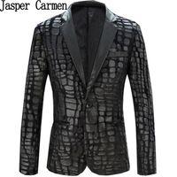 Wholesale Pu Leather Blazer For Men - Wholesale- Free Shipping men pu leather slim suit for men plus size M-XXXXL spring and autumn fashion men blazers 171