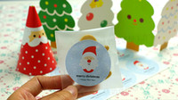 Wholesale Merry Christmas Boxes - Wholesale- 60Pcs Merry Christmas Blue Santa Claus sealing Seal paste stickers DIY candy cake box packaging label Party Decoration