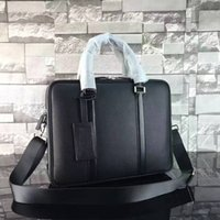 Wholesale Leather Handles For Handbags - new famous designer Grained calf leather BRIEFCASE Businessman Bags high quality two zipper handbag for male 240