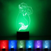 Wholesale Princess Bedside Lamps - Wholesale- Little Mermaid Princess 7 Color Changing LED Night Light Girl's Bedside Lamp Mood Light with Touch Button Birthday Gift for Kids