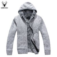 Wholesale Fur Lined Sweatshirts - Wholesale-5Colors 2016 New Autumn Winter Fur Lining Thicken Hoodies Men Casual Zipper Warm Hoody Knitted Sweatshirt mens winter Jumper