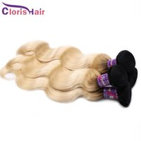 Wholesale Cheap Blonde Hair Extensions Dark - Ombre 1b 613 Hair Extensions Virgin Malaysian Body Wave Bundles Cheap Two Tone Dark Roots Blonde Human Hair Weaves Ombre Weft 3 Pieces