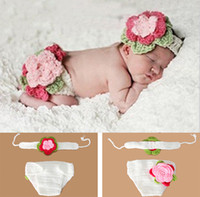 Wholesale Baby Christening Boys - Crochet Flower Set Photography Props Design Baby Newborn Photo Props Knitted Baby Flower Costume Crochet Baby Christening Accessories