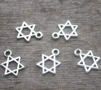 Wholesale Star David Silver Charms - 20pcs--Little Star of David charms antique silver 6 pointed star hexagram 21x16mm