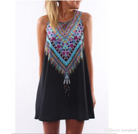 Wholesale Ethnic Tunics - Printed Dress Bohemian Sleeveless Vintage Printed Ethnic Style Loose Casual Tunic Dress Above Knees Summer style ouc066