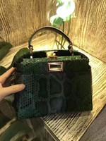 Wholesale Shoulders Handbags Blue Colour - new top quality fashion women real python skin green colour handbag, small size 23cm,female original real leather quality shoulder bag