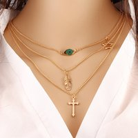 Wholesale Evil Eye Cross Charm - Fashion lady three layer gold chain pendant necklace evil eye cross and leaf shape design European 2017 cheap alloy Necklace for Lady