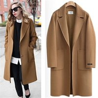 Wholesale Camel Winter - Camel Black US 2017 Fall   Winter Women Notched lapel Single Button Simple Long Coat ZA style Career Overcoat manteau femme casaco feminino