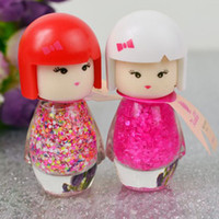 Wholesale Lavender Girl Doll - Wholesale-7ml Cute Little Girl Pure Color Nail Polish Doll Head With Multi-Color Environment Friendly DIY Nail