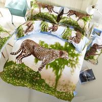 Wholesale comforter sets leopard print - 3D Bedding Set Leopard Pattern Full Size Home Textiles Duvet Covers Bed Linen Pillow Cases Wholesale Home Textile