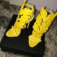 altın ayakkabılar yüksek topuk toptan satış-İnanılmaz Lady Melek Kanatları Siyah Çıplak Ince Yüksek Topuklar Sandalet Gladyatör Roma Kama Kadın Altın Yaprak Deri Ayakkabı Indirim ...