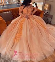laranja puffy vestidos de baile venda por atacado-2019 laranja vestidos de baile com mangas compridas a linha árabe dubai ilusão corpete renda apliques vestido puffy para festa celebridade desgaste