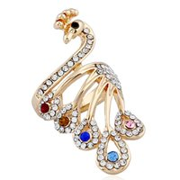 Wholesale fasion rings - Fashion colorful zirconic crystal peacock ring lady's alloy fasion ring women hand finger jewelry